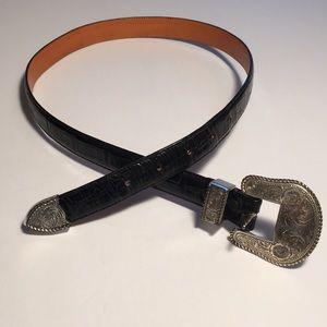 Silver Creek Black Leather Texas Southern Belt